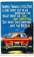 POSTCARD COMIC  BAMFORTH  COMIC  Series  No  2144  American Car  Courting couple