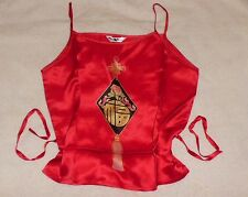 NEW but Vintage from China 100% Silk Sleeveless Tank Top sz S Red Tassel Waist