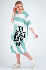 ZEDD..PLUS Sommertraum! Ballon Kleid Streifen +Letterprint mint-weiß 48-50 (3)