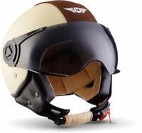 MOTO H44 Vintage Creme Jet-Helm Vespa-Helm Roller-Helm Motorrad-Helm (XL 61-62)