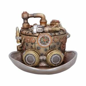"""Cogwork Hatter Box"" Steampunk Resin Ornament 14.5cm Hand Painted Trinket"
