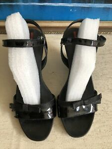 Prada Leather Wedgeheel Sandals/ Used Conds/ Size 38/ Made In Italy