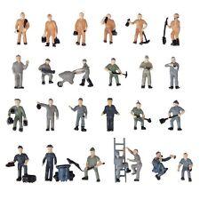 25pcs 1:87 Figurines Painted Figures Miniatures of Railway Workers Y4J8