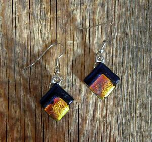 Orange Yellow Dichroic Glass Pierced Dangle Earrings Handmade