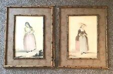 Pair of Old Figural Woman Watercolor Paintings