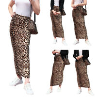 Muslim Women Leopard Long Skirt Stretch Bodycon Pencil Maxi Skirts Dress Abaya