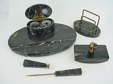 Vintage Black Marble 5 pieces Desk Set w/Gold Accents - Nice