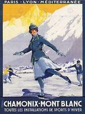 Viaje Chamonix Mont Blanc Alpine Resort cartel de patinaje deporte de invierno BB7473B
