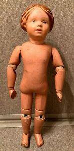"Antique Schoenhut 14"" Spring Jointed Wooden Doll (PAT 1/17/1911)"