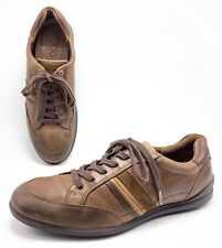 Ecco Mens 44 10/10.5 Brown Leather Lace Up Comfort Casual Oxfords Walking Shoes