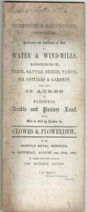 PARTICULARS OF SALE WATER & WINDMILLS ECT CORPUSTY & SAXTHORPE NORFOLK 1860