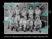 OLD POSTCARD SIZE PHOTO OF THE RNZAF AIR FORCE  No 6 SQUADRON CREW c1944