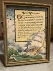 Antique Print RARE Sea of LIFE'S VOYAGE Buzza? MOTTO Poem SHIP Nautical MEMORIES