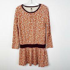 Tea Collection Girls Size 6 Long Sleeve Drop Waist Cotton Dress Burnt Orange