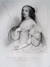 c49-7k Gravure 1860 portrait Gabrielle Louise de St Simon Duchesse de Brissac