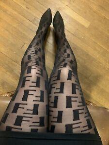 FF Fashion Sexy Black Monogram Tights Pantyhose Nylons