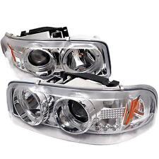 Pair Chrome Projector Head lights lamps GMC Sierra Yukon 1999-2007 HALO LED
