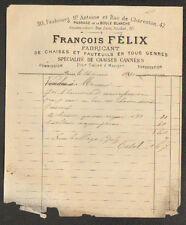 """PARIS (XII°) USINE de CHAISES & FAUTEUILS Cannés """"François FELIX"""" en 1880"""