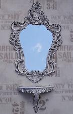 Set M BLANC NOIR Miroir mural + DEPOSE CONSOLE 50X76 ANTIQUE BAROQUE