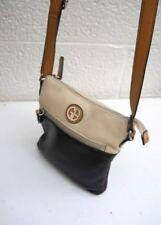 Giani Bernini Black & Cream Pebbled Leather 3-Compartment Shoulder / Crossbody