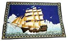 Vintage Tapestry Ship Sailing Waves 100% Cotton Made In Turkey LARGE 37×56