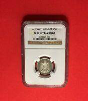 EGYPT-1966 UNCIRCULATED,AH-1386 5 PIASTRES ,CERTIFIED BY NGC PF-66 -ULTRA CAMEO.