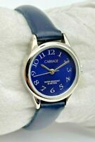 Women's CARRIAGE by Timex Classic Silver Tone Blue Dial, Leather Band Watch Runs