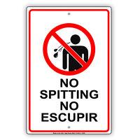 No Spitting No Escupir Aluminum Metal Sign