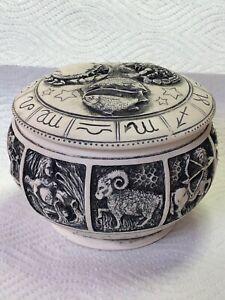 Harmony Kingdom Art Adam Binder XL Zodiac Pot Box 12 Birth Signs Original Black