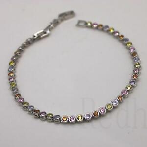 Bracelet 18K White Gold Filled Gemstone Morganite Citrine Pink Quartz Cuff Chain