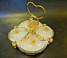 Sectional Serving Tray w/ 4 Snack Dish Dip Bowl - Filigree Dessert Platter Heart