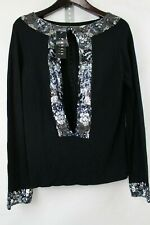 Precis Petite 100% Rayon Black W/Sequins Open Center Scoop neck Sweater - PL