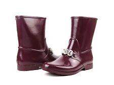 Michael Kors Leslie Rainbootie Plum Purple Rubber Crystal Short Boot NEW Size 6