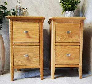 Matching Pair Oak Narrow Bedside Tables - Slim Set of 2 Retro Light Wood Drawers