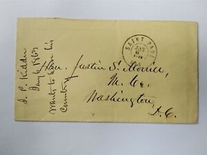 Minnesota: Saint Paul 1863 Stampless Cover to Justin S. Morrill in DC