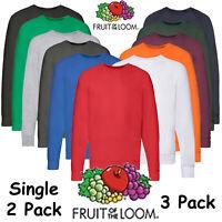1 3 5 Pack Mens Fruit Of The Loom Sweatshirt Sweat Pullover Plain Top Jumper lot