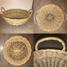 🌟Vintage Style Large Wicker Rattan Hand Woven Basket Bowl With Handles Boho