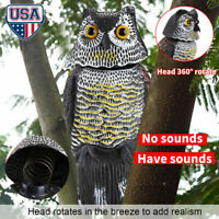 Fake Owl Hunting Decoy Garden Protection Decor Repel Control Crow Scarecrow US
