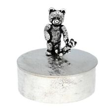 St Justin Pewter Teddy and Baby Bear Trinket / Pill Box Made in UK