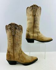 Ladies Justin Brown Leather Snip Toe western Cowgirl Boots Size: 6 B