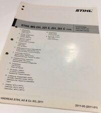 Genuine Stihl Motosega MS 231 MS 231 C Workshop Ricambi Parts List 0452 737 1323