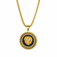 Men Punk Gold Black Stainless Steel Lion Head Round Pendant Necklace Wheat Chain