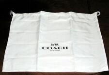 "Coach White Satin Drawstring Dust Cover Storage Dust Bag 19""x15"" Med. New"