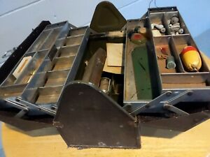 Kennedy Kits Fishing Tackle Box Leather Handle rare! Loaded