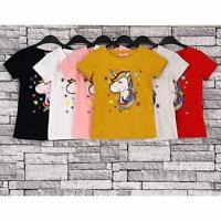 Casual Toddler Kids Girls Summer Short Sleeve Unicorn Tops T-shirt Polo Clothes