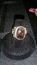 Sterling Silver Ring  Brown Stone Statement size   925  scroll work