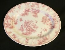 Churchill England Pink Toile Scalloped Oval Serving Platter~EUC!