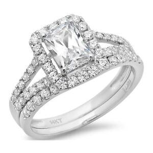 1.8ct Emerald Cut Halo Bridal Engagement Wedding Ring Band Set 14k White Gold
