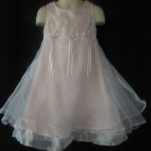 Bonnie Jean Sleeveless Pink and White Checked Dress with Roses Size 4