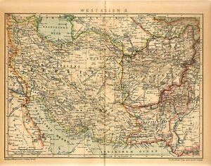 1912 PERSIA IRAN BUKHARA UZBEKISTAN TURKMENISTAN AFGHANISTAN Antique Map dated